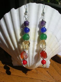 Rainbow Chakra Gemstone Dangle Earrings Wire by WholisticBlessings