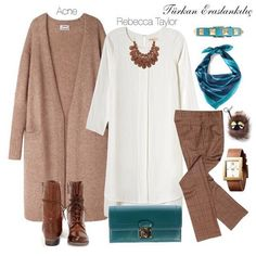 Türkan Eraslankılıç: How to combine coffee tones? Stylish Hijab, Casual Hijab Outfit, Hijab Chic, Modesty Fashion, Hijab Fashion, Fashion Outfits, Fashion Fashion, Islamic Fashion, Muslim Fashion