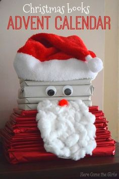 Christmas books advent calendar shaped like Santa - Here Come the Girls Christmas Crafts For Kids To Make, Christmas Activities For Kids, Fun Crafts For Kids, Craft Activities For Kids, Preschool Crafts, Crafts To Make, Literacy Activities, Primitive Christmas, Christmas Books