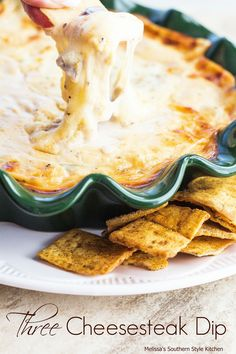 Three Cheesesteak Dip - This gooey cheesesteak dip is such a fun a way to enjoy the flavors we all love on Philly cheesesteak sandwiches.