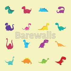 """abstract set of cute dinosaurs on a light yellow background"" - Boy's Room Decor Posters and Prints Available at Barewalls.com"