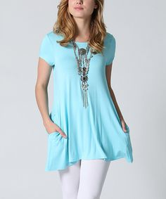 06d11bd9f6a56 42POPS Baby Blue Pocket Swing Tunic - Plus by 42POPS