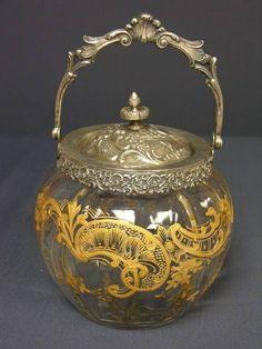 Victorian Biscuit Jars | Victorian Crystal and Silver Biscuit Jar