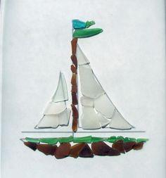 Bulk Genuine Sea Glass Sailboat Mosaic One by WholesaleSeaGlass, $11.95