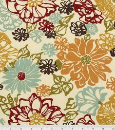 aqua and red floral fabric
