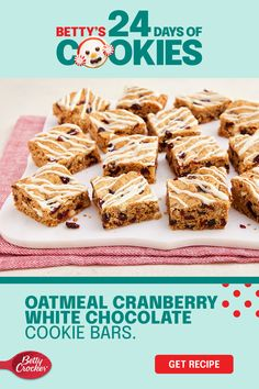 Add a spark of fun to your classic oatmeal cookie recipe using white chocolate, cranberry and Betty Crocker Oatmeal Cookie Mix! The secret is in the dried cranberries you'll add into the dough and the decadent white chocolate you'll drizzle over the top. Enjoy the looks of surprise when they're chosen from the cookie tray. You've just made oatmeal cookie bars cool again. Yummy Recipes, Baking Recipes, Cookie Recipes, Delicious Desserts, Yummy Food, Soft Oatmeal Cookies, Cranberry Bars, White Chocolate Cranberry Cookies, Cookies