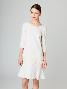 Textured Stretch-Wool Crepe Dress - Ready-to-Wear
