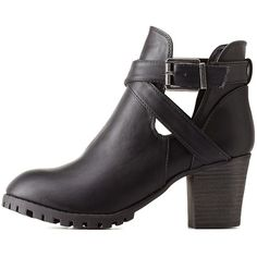 Charlotte Russe Black Bamboo Belted Lug Sole Booties by Bamboo at... (1.085 UYU) ❤ liked on Polyvore featuring shoes, boots, ankle booties, heels, zapatos, black, heeled booties, black ankle boots, black block heel booties and chunky heel boots