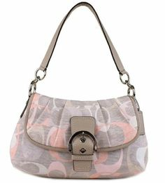 Coach Soho Optic Linen Flap Shoulder Bag Handbag Purse 19238 Multi