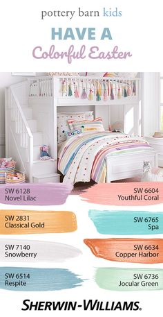 Your perfect pastel palette is here. Whimsical, sweet and upbeat, these Easter-inspired hues are sure to be a hit with the little ones year-round. Kids Bedroom Paint, Girls Bedroom Colors, Bedroom Paint Colors, Playroom Paint Colors, Playroom Color Scheme, Coral Paint Colors, Bedroom Decor, Bedroom Ideas, Paint Color Schemes