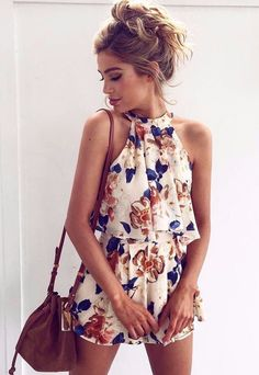 Floral Printed Halter Sleeveless Top Shorts Set