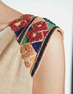 Lovely close up of a shoulder embroidery detail featuring aaaalll the french knots Shirt Embroidery, Beaded Embroidery, Embroidery Stitches, Embroidery Patterns, Sewing Patterns, Geometric Embroidery, Needlepoint Stitches, Japanese Embroidery, Art Patterns