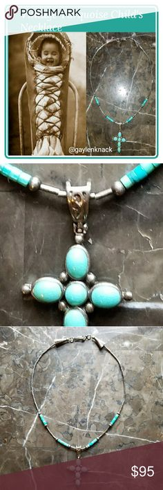 "Vintage Turquoise Child's Necklace 😇 Beautifully detailed silver and turquoise necklace measuring 12"" without fastening, 12.5"" with fastening included. The bale of the cross is intricately detailed in a lovely swirl design, and the cross is enhanced with beadwork. The chain is delicate but sturdy, and a classical design. Each end is shaped like a tepee, and marked by the artisan with tepee-like engravings as shown. I wear it still as an adult, and it's a classic piece. 🙏 Accessories…"