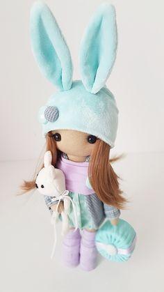 Bunny Textile DOLL WITH CLOTHING, Interior Decor Doll, Tilda Rag Doll, Special Girl Gift christmas doll toys birthday home decor sale Handmade Clothes, Handmade Items, Home Decor Sale, Special Girl, Fabric Dolls, Girl Gifts, Doll Toys, Soft Fabrics, Kids Toys