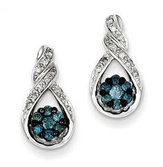 Sterling Silver Blue Diamond Teardrop Post #Earrings
