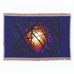 Stained Glass Moon Abstract Throw Blanket
