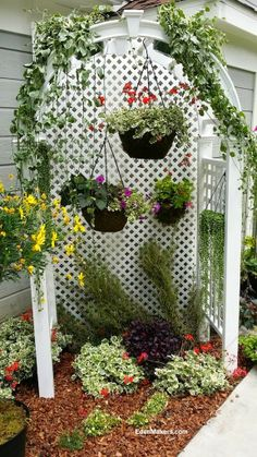 A small, narrow garden bed is not a design dilemna, it& a creative design opportunity! Do you have a small, narrow garden and crave style but lack design ideas? Outdoor Landscaping, Outdoor Plants, Outdoor Gardens, Pergola Patio, Small Space Gardening, Small Gardens, Narrow Garden, Rose Trees, Garden Design Plans