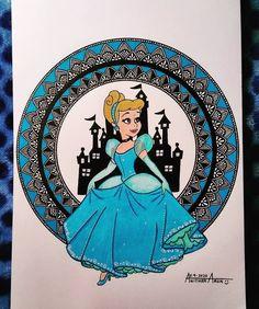 Cinderella 👸❤️ Mandala Design, Mandala Art, Pencil Art Drawings, Cinderella, Disney Princesses, Angles, Respect, Zen, Fictional Characters