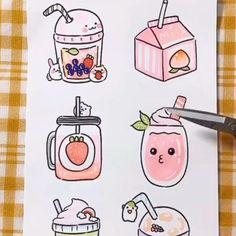 Easy Doodles Drawings, Cute Easy Drawings, Cute Little Drawings, Art Drawings For Kids, Kawaii Drawings, Cute Doodle Art, Doodle Art Drawing, Cute Doodles, Cute Art