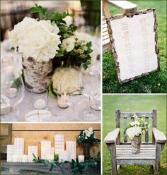 tischdeko hochzeit Kernstück weiße Rosen und grüne Pflanzen