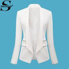 chaqueta Mujer  blanco de manga larga con cremallera equipada Blazer