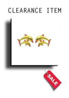 9ct Gold & Pink Enamel Dolphin Stud Earrings - AP7028