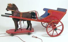 ANTIQUE 1880's GERMAN MOHAIR HORSE & WOODEN BUGGY PULL TOY - GERMANY