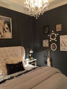 Stunning Romantic Master Bedroom Design Ideas - Page 72 of 151 Black Master Bedroom, Romantic Master Bedroom, Stylish Bedroom, Gray Bedroom, Master Bedroom Design, Bedroom Decor, Bedroom Ideas, Bedroom Designs, Beautiful Bedrooms