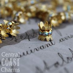 8 mm Gold Czech Glass Crystal AB Rhinestone Rondelle Bead Cap Spacer Beads - 12 pcs - Vintage Style - Aurora Borealis