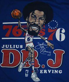 Mitchell&Ness Philadelphia 76ers Team Dr. J Julius Erving Blue T Shirt Short L