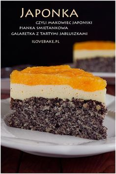 CIASTO JAPONKA #poppyseed Polish Desserts, Polish Recipes, Cookie Desserts, No Bake Desserts, Sweet Recipes, Cake Recipes, Dessert Recipes, Food Cakes, Cupcake Cakes