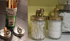 super glue the mason jar lid to the rim, and then super glue the plastic animals to the lid.  coat the lids with 2 coats of Rust-oleum's Metallic High Shine Finish spray paint.
