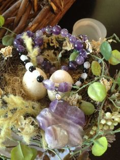 All Natural Stone Necklace With Amethyst, Rainbow moonstone and Agate. Reiki Infused