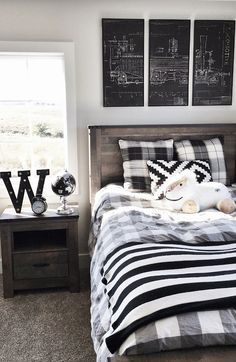 Cool Black and White Teenage Boy Bedroom - Cool Teenage Boys Room Decor Ideas: Best Teen Boy Room Designs and Decorating Ideas Teen Boy Bedding, Teen Boy Rooms, Teen Boys, Tween Girls, Kids Boys, Big Boy Bedrooms, Baby Rooms, Chambre Nolan, Boys Room Design
