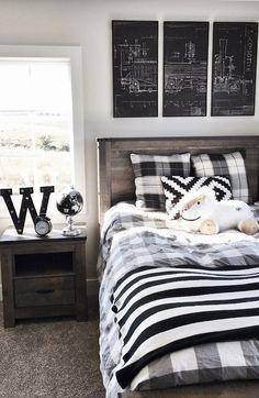 Boy bedroom. Boy bedroom ideas. Transitional boy bedroom decor. Bedroom Furniture Set: Slumberland. Train Wall Art: World Market. #boybedroom #boybedroomdecor #boybedroomideas #transitionalboybedroom Beautiful Homes of Instagram @nc_homedesign via Home Bunch