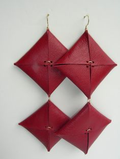 Handmade Red Leather Statement Earrings with gold accents and earring hook. Earrings measure 5 inches in length.