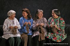 All of our garments are hand knit by Alaskan Natives who use knitting to earn additional income to traditionally subsistence lifestyles.