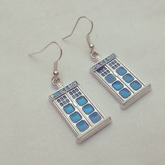 Doctor Who themed Tardis style earrings