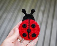 2 differnt sized crochet ladybugs, crochet applique, ladybug applique, crochet p. Crochet Ladybug, Cute Crochet, Crochet Toys, Crochet Mermaid Blanket, Crochet Mermaid Tail, Applique Patterns, Knitting Patterns, Crochet Patterns, Cat Applique