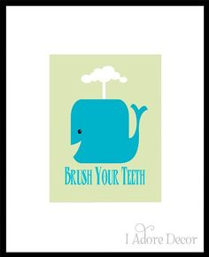 WHALE Print - Wash Your Hands - Brush Your Teeth BATHROOM