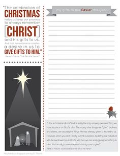 A Christmas Letter to the Savior about what you will give back to him this year. You put a letter in your stocking for safe keeping until next year. Love the idea!
