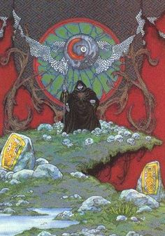 muirthemne:    Balor in Magh Tuireadhby Jim Fitzpatrick,1981.From Fitzpatrick's  The Silver Arm    From Muirthemne a great Irish Mythology and Folklore illustration blog.