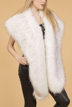 Faux Fur Stole | Jayley Cream Faux Fur Wraps & Collars