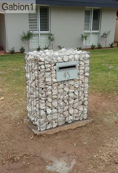 "gabion mail box using 3' tall x 27"" wide x 15"" thick gabion http://www.gabion1.com"