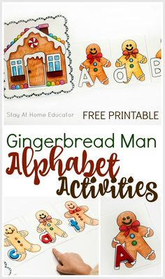 Need a gingerbread activity for your preschool gingerbread theme? Add this free gingerbread man printable to your Christmas preschool theme. Make a train of gingerbread men from the gingerbread house by putting them in alphabetical order. Or teach name sp Writing Activities For Preschoolers, Christmas Activities For Toddlers, Preschool Christmas, Alphabet Activities, Learning Activities, Preschool Alphabet, Preschool Writing, Alphabet Cards, Time Activities