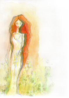 Portrait of the goddess Kore, watercolor, created for Montessori scholar system, by Maria Janczak   ( www.facebook.com/maria.janczak.artist )