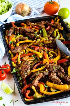 These Easy Sheet Pan Steak Fajitas Make The Perfect Simple And Healthy Weeknight Meal For Busy Families Made With Lean Beef, Fresh Veggies And Your Favorite Mexican-Style Fixings Recipe From Thebusybaker. Authentic Mexican Recipes, Mexican Food Recipes, Mexican Dishes, Seafood Recipes, Ethnic Recipes, Healthy Weeknight Meals, Easy Meals, Beef Fajita Recipe, Recipe For Fajitas