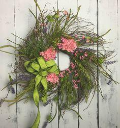 Hydrangea Wreath-Pink Hydrangea Wreath-Front Door Wreath-Spring Wreath-Everyday Wreath-Farmhouse Decor-Twig Wreath-Rustic Wreath-Shabby by ShabbyNestDesigns on Etsy