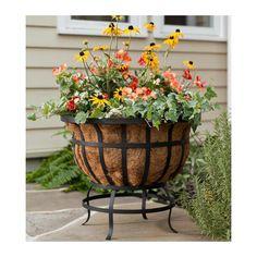 Round Steel Basket Planter With Natural Coir Liner - Plow & Hearth Basket Planters, Garden Planters, Planter Pots, Steel Planter, Flowers For Planters, Garden Beds, Potted Plants Patio, Plastic Planters, Barrel Planter