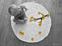 Crochet Rug Cherry Tree White Cotton with Mustard by KingSoleil. This would be so pretty in baby girl's nursery!